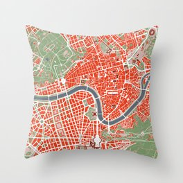 Rome city map classic Throw Pillow