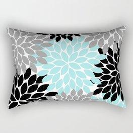 Aqua Black Gray Flower Burst Floral Pattern Rectangular Pillow