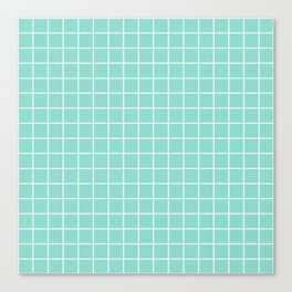 Middle blue green - heavenly color - White Lines Grid Pattern Canvas Print