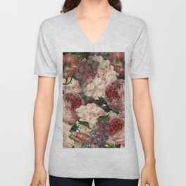 Vintage & Shabby Chic Pink Dark Floral Roses Lilacs Flowers Watercolor Pattern Unisex V-Neck