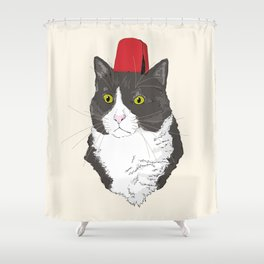 Fez Hat Cat Shower Curtain
