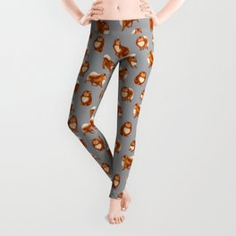 Pomeranian Pattern (Gray Background) Leggings