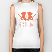 cleveland Biker Tanks featuring Cleveland Football by John Trivelli