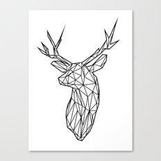 Black Line Faceted Stag Trophy Head Canvas Print