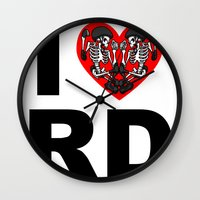 roller derby Wall Clocks featuring I heart roller derby by Andrew Mark Hunter