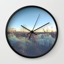 A river landscape (double exposure) Wall Clock