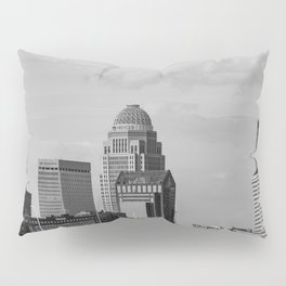 Downtown Louisville Skyline - Black and White Pillow Sham