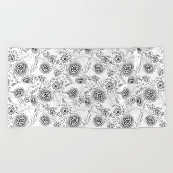 Black and white watercolor floral pattern with polka dots . Beach Towel