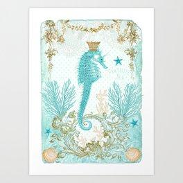 Blue Seahorse Art Print