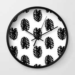 Linocut Monstera leaf cute black and white abstract children trendy illustration lino printmaking Wall Clock