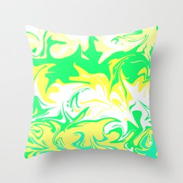The hurricane, abstract color storm in green, white and yellow Throw Pillow