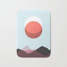 Minimalist Red Moon Lunar Eclipse with Mountains Bath Mat