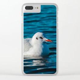 Swimming sea gull Clear iPhone Case
