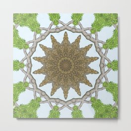 Bark Leaves Stone Kaleidoscope Art 2 Metal Print