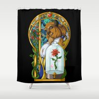 beast Shower Curtains featuring Beast by Two Tiger Moon Studio