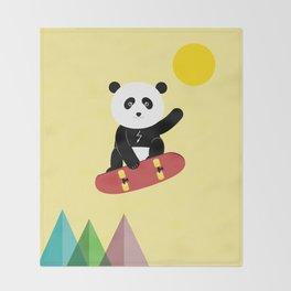 Panda on a skateboard Throw Blanket