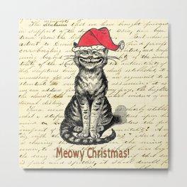 Meowy Christmas Holiday Kitty Metal Print