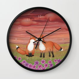 affectionate foxes and purple petunias Wall Clock