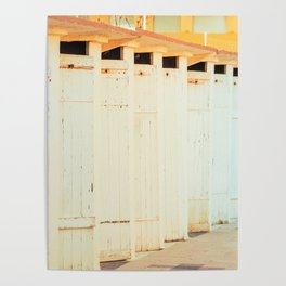 Beach cabins shortly after dawn in winter Poster