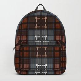 Dark black and blue plaid checkered Scandinavian design Backpack