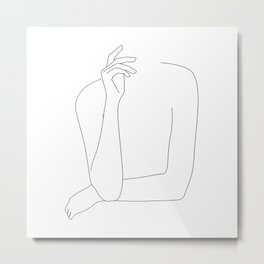 Folded arms - minimal line art Metal Print
