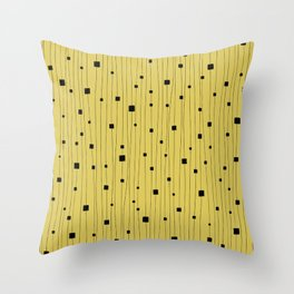 Squares and Vertical Stripes - Yellow and Black - Hanging Throw Pillow