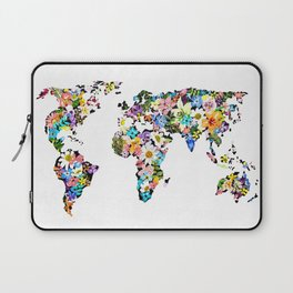 Floral World Map Laptop Sleeve