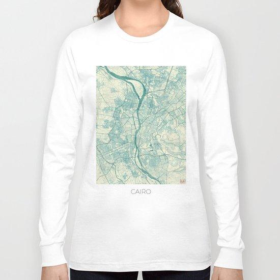 Cairo Map Blue Vintage Long Sleeve T-shirt