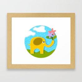Cute Gold Applique Elephant in Field Holding Flowers in Her Trunk Framed Art Print