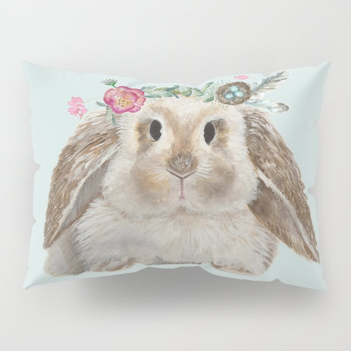 Spring Bunny with Floral Crown Pillow Sham