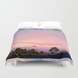 Rose Quartz and Serenity Landscape Duvet Cover