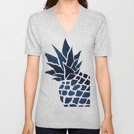 Pineapple, Big Blue, Denim Navy Unisex V-Neck