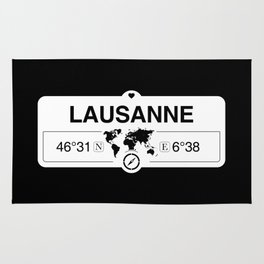 Lausanne Vaud GPS Coordinates Map Artwork with Compass Rug