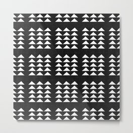 Tribal Triangles in Black and White Metal Print