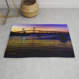 Newport Bridge - Newport, Rhode Island Purple Sunset Rug