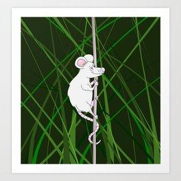 Cartoon Mouse Climbing in Grass Art Print