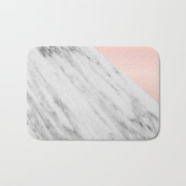 Real Carrara Italian Marble and Pink Bath Mat