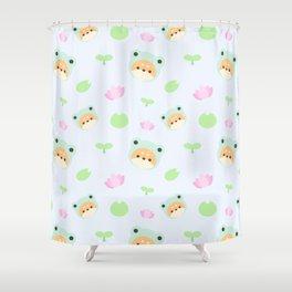 cute shiba inu frog pattern Shower Curtain