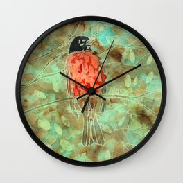 Robin In Eucalyptus  Wall Clock