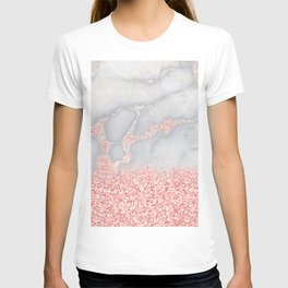 Sparkly Pink Rose Gold Glitter Ombre Bohemian Marble T-shirt