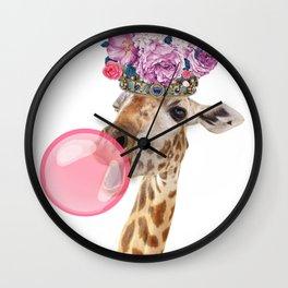 Giraffe in crown of flowers Wall Clock