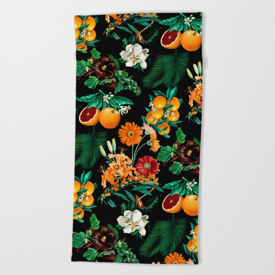Fruit and Floral Pattern Beach Towel