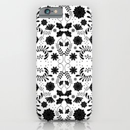 Black Mexican Flowers iPhone Case
