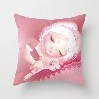 sleep Throw Pillows featuring Sleep by Diana_Amaral