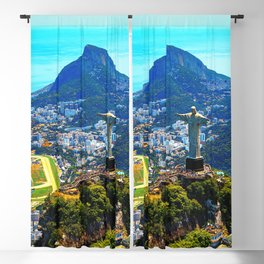 Beautiful Aerial view of Rio de Janeiro with Christ Redeemer and Corcovado Mountain - Brazil Blackout Curtain