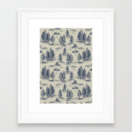 Alien Abduction Toile De Jouy Pattern in Blue Framed Art Print
