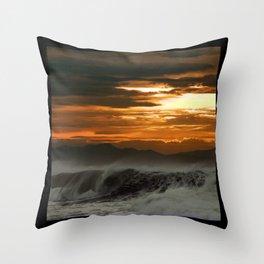 Winter Shorebreak at Sunset Throw Pillow