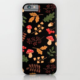 Christmas forest black iPhone Case