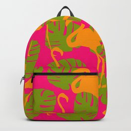 Flamingos and Monstera Pattern Y Backpack