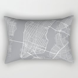 New York City Map, New York USA - Pewter Rectangular Pillow